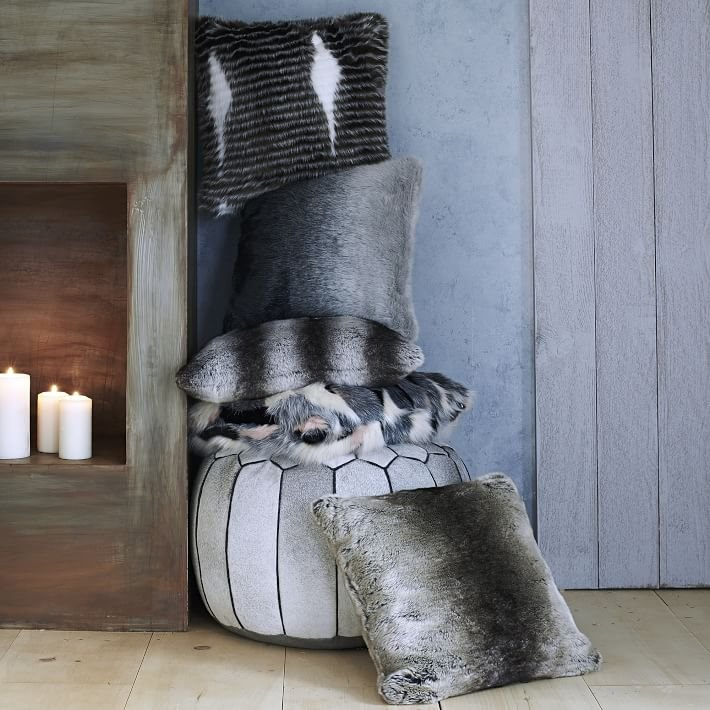 Faux fur pillows from West Elm