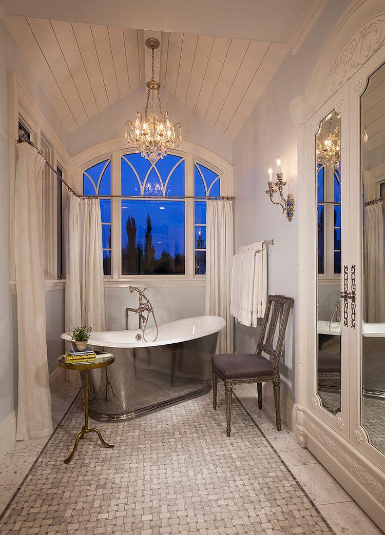 Narrow victorian bathroom with stainless steel bathtub, chair and a sleek side table