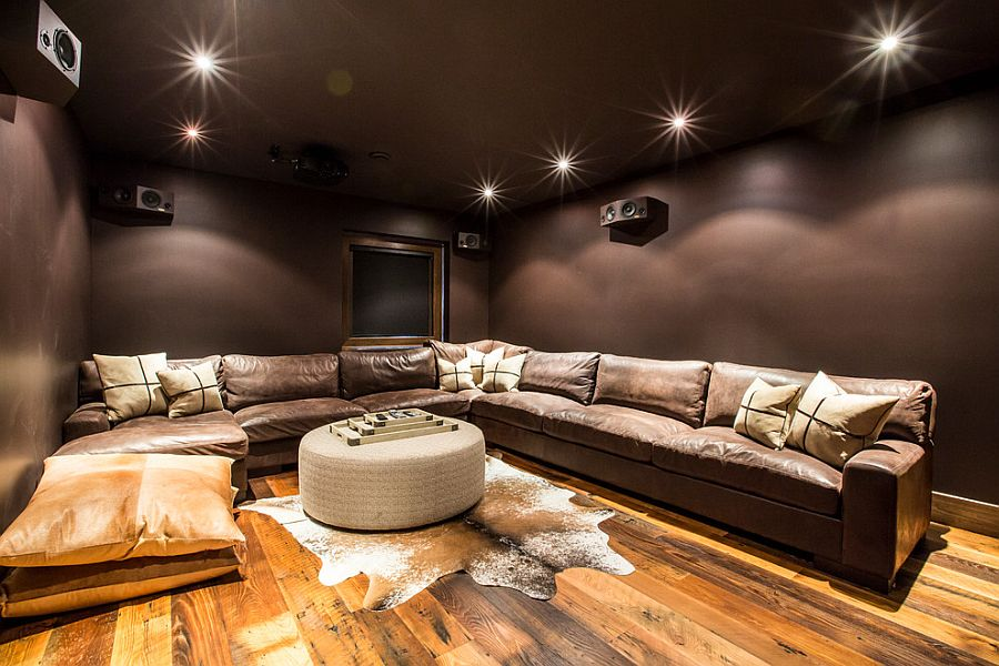 Plush home theater seating and color scheme inspiration