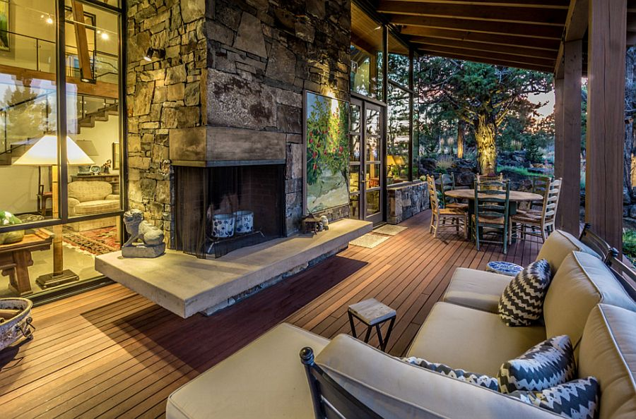 Rustic deck design seems like an extension of the living space indoors