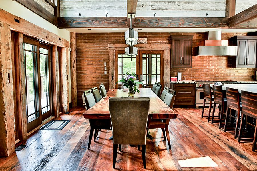 Rustic dining room design with brick wall