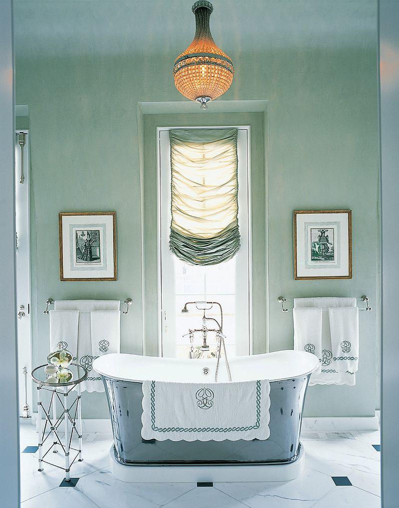 Serene and pleasing bathroom with custom silk window shade and an air of opulence