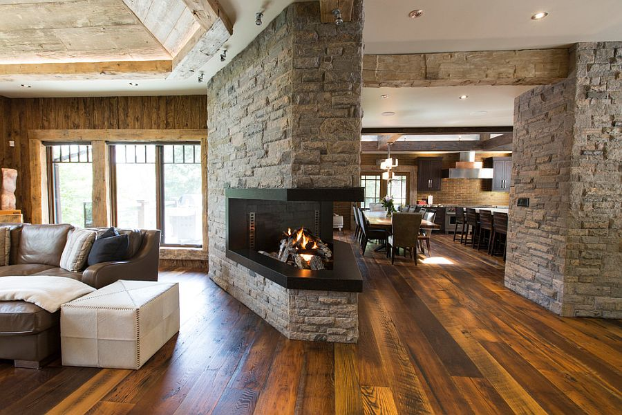 View of the family area, dining space and kitchen inside the cool cottage retreat
