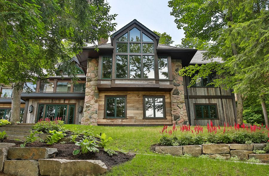 Wood, stone and glass exterior of the Rosseau Retreat in Ontario