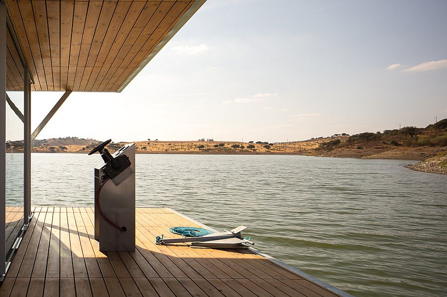 Deck of the floating house crafted for a mobile, planet-friendly lifestyle