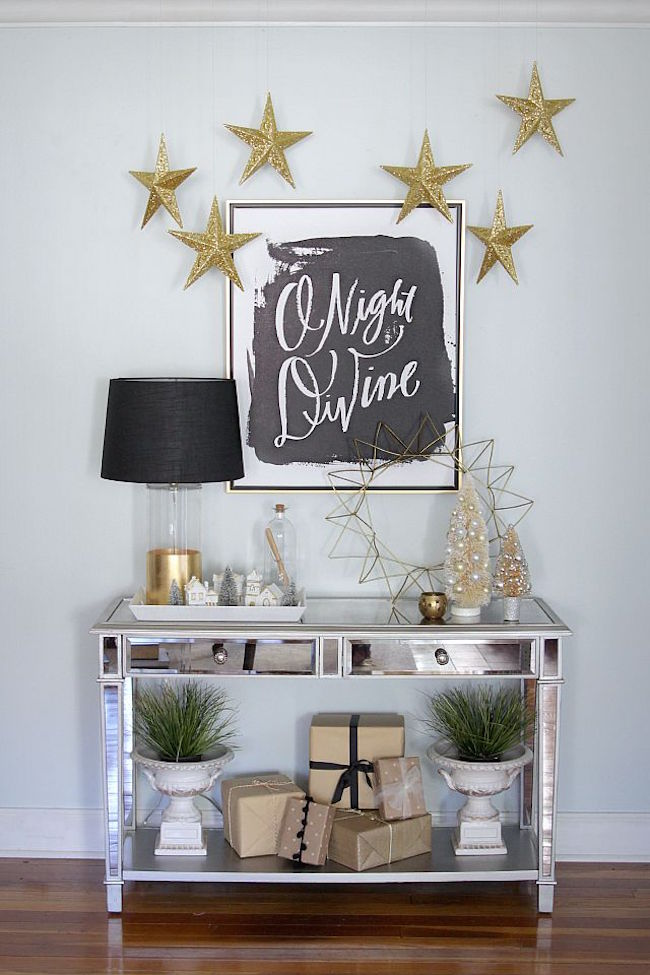 Entryway table decorated for the holidays