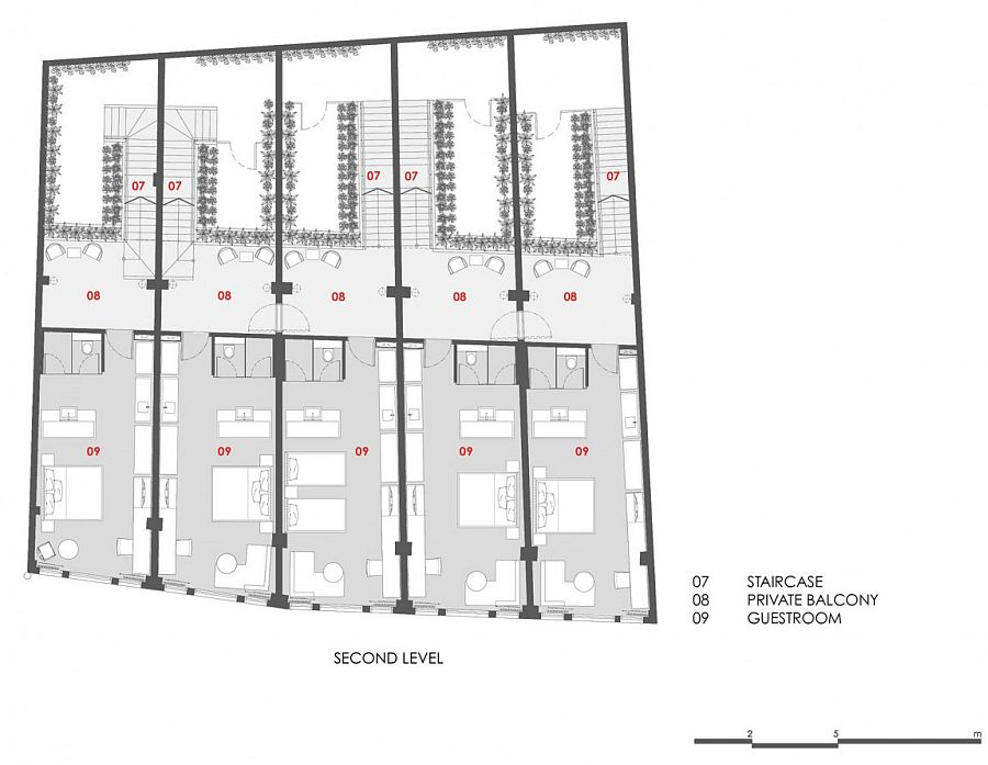 Floor plan of the private balcony and guest rooms at the Loke Thye Kee Residences