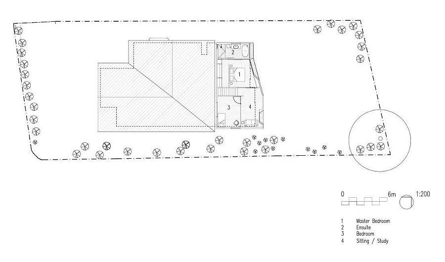 Floor plan of the second level of modern extension for 1920s home in Sandy Bay
