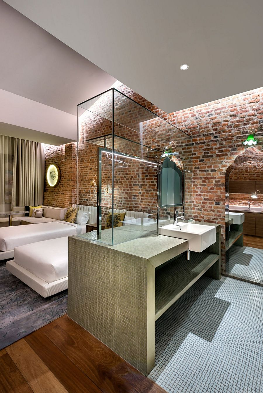 Glass and stone additions inside the suites make minimum change to the existing walls