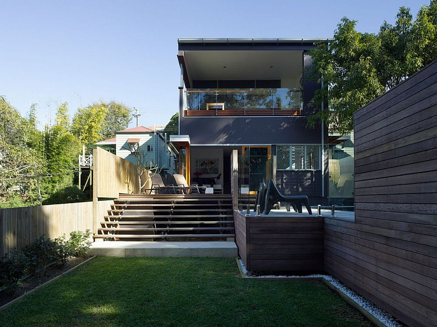 House open up into the small private backyard and deck