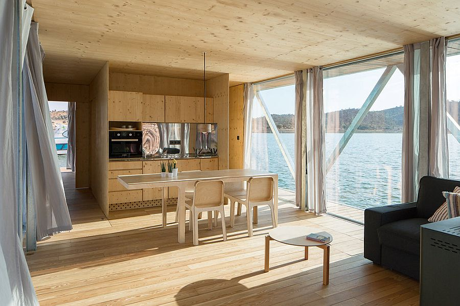 Kitchen and open interior the Floatwing in wood
