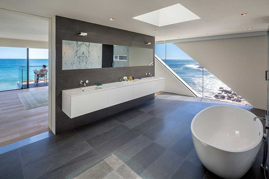 Master bathroom seamlessly connected with the bedroom and the view outside