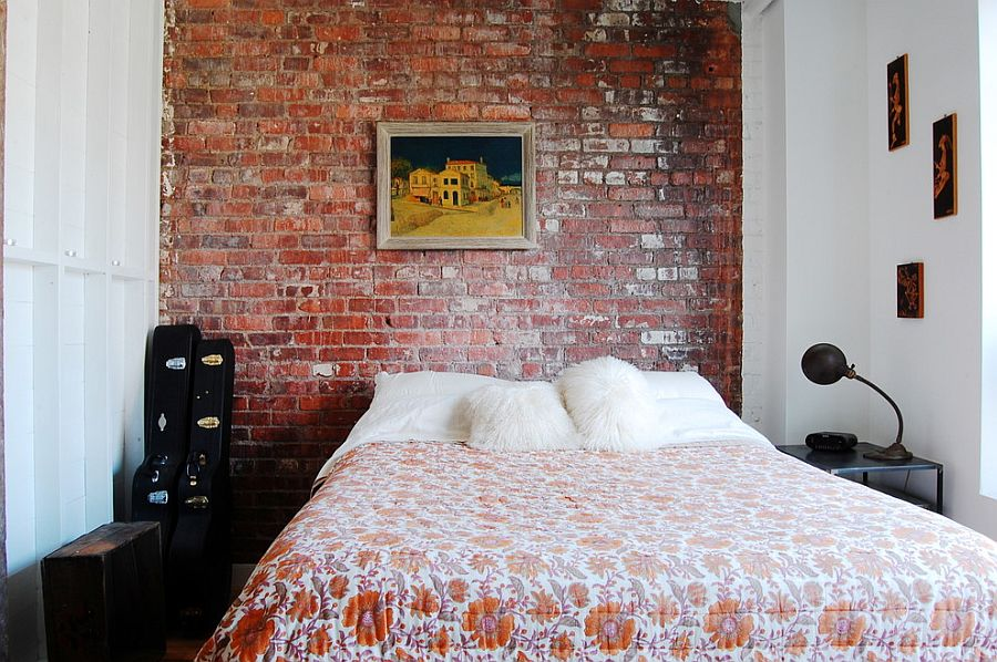 Small industrial bedroom with exposed brick wall [Photography: Corynne Pless]