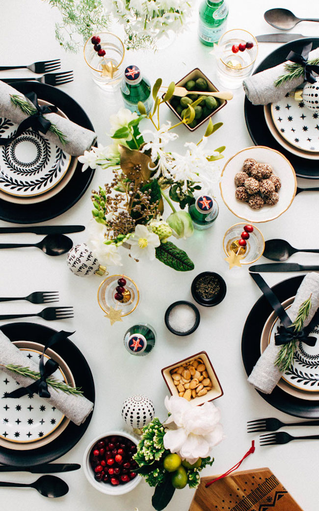 Striking black, white, and gold Christmas tablescape