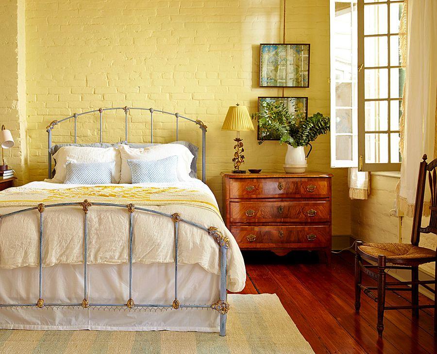 Yellow adds a fuzzy sheen to the eclectic bedroom [Design: Logan Killen Interiors]
