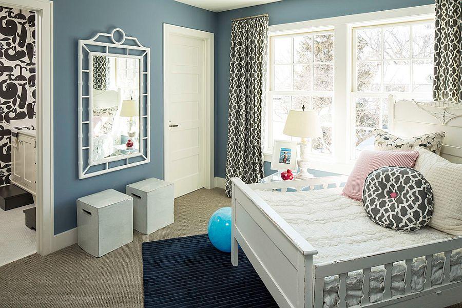 Beach style kids' room with bluish-gray walls [Design: Martha O'Hara Interiors]