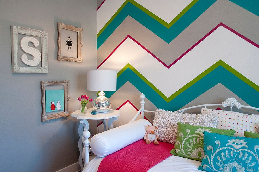 Bold chevron pattern accent wall for the chic girls' bedroom [Design: Judith Balis Interiors]