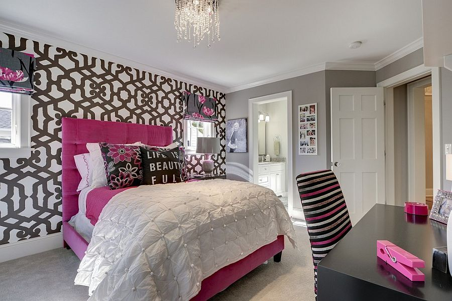 Combine a hint of pink with gray to shape a stylish girls' bedroom [Design: Great Neighborhood Homes]