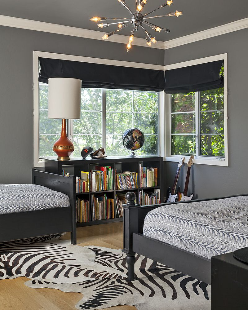 Contemporary shared boys' bedroom with dark gray on the walls [Design: Holly Bender Interiors]