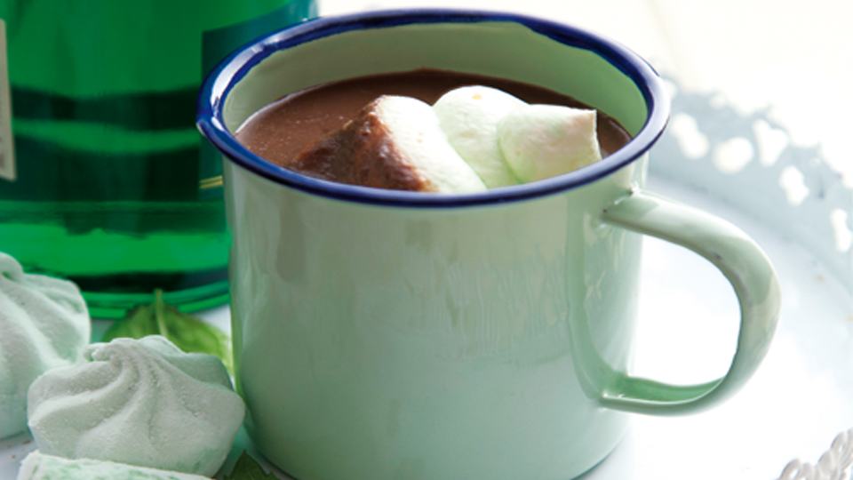 Creme de menthe hot chocolate from Food & Wine
