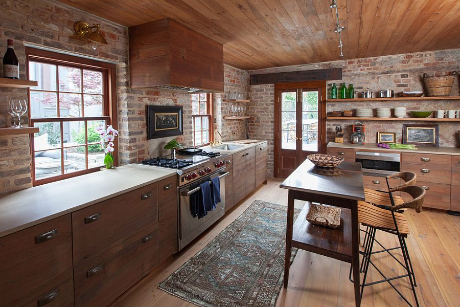 Custom island and chairs bring antique charm to the rustic kitchen [Design: Cameron Stewart Design]