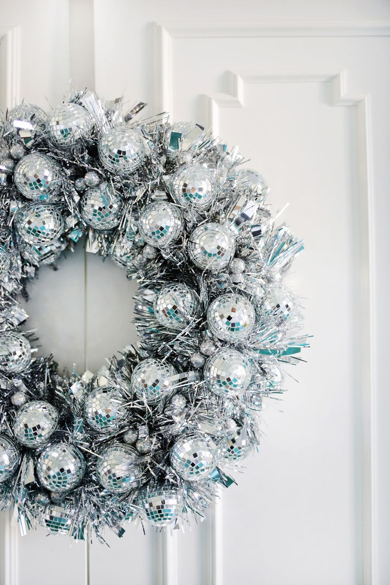 Disco ball wreath from A Beautiful Mess