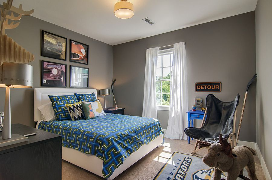Gray backdrop in the kids' room allows you to easily switch its theme [Design: Signature Homes]