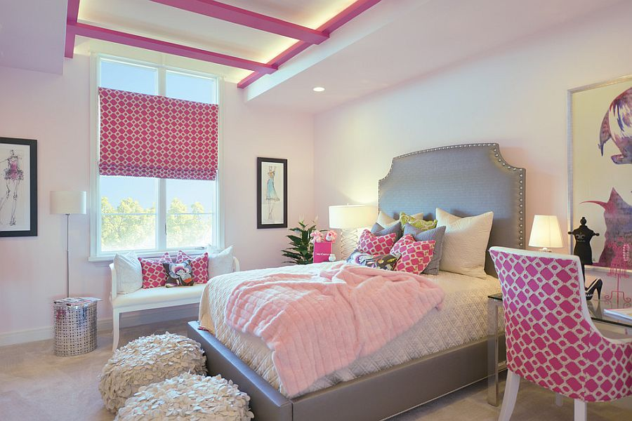 Gray plays second fiddle to pink in this exquisite girls' bedroom [Design: Gormans]
