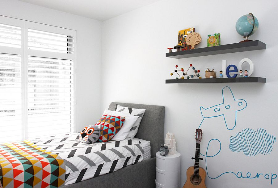 It is the cozy bed that brings gray to this white kids' room [Design: Hide & Sleep Interior Design]