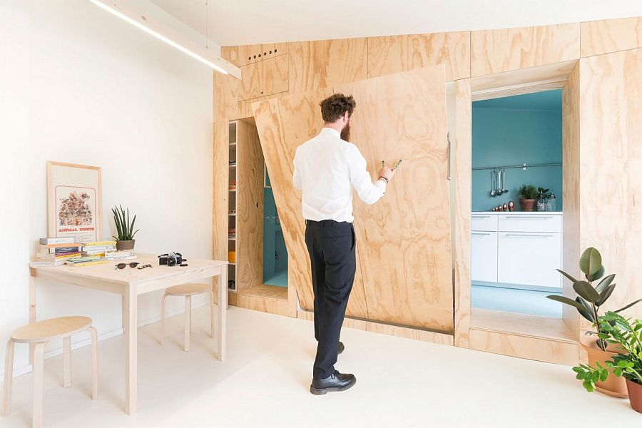 Murphy bed that folds away when not needed for the tiny Italian apartment