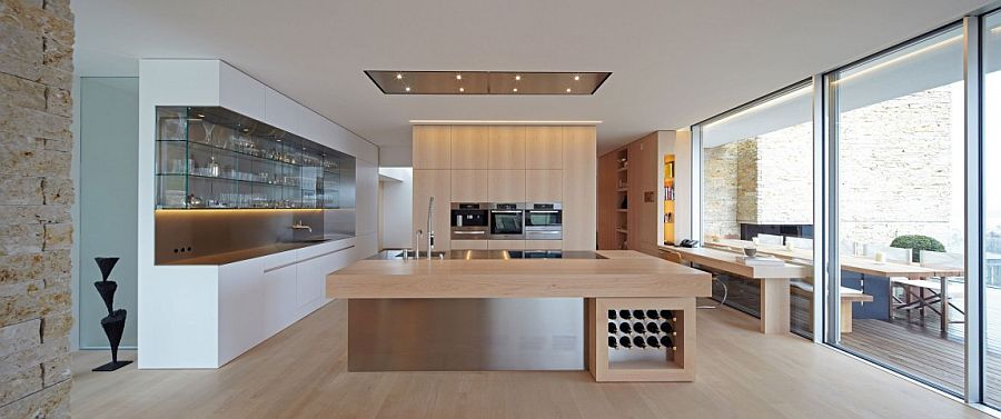Open glass shelving for the contemporary kitchen