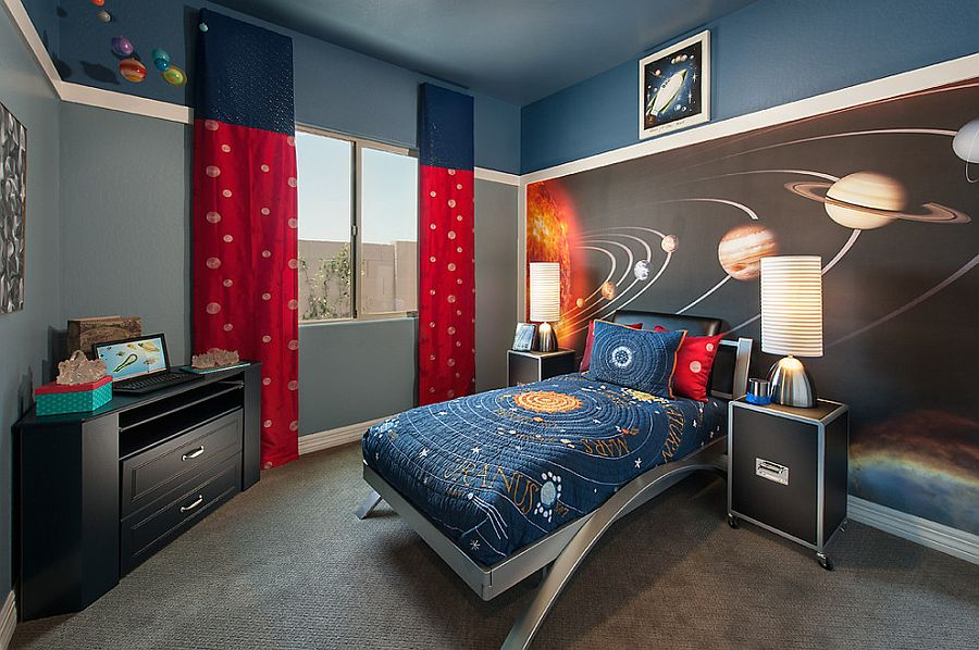 Perfect bedroom for a kid who loves the cosmos [Design: Maracay Homes Design Studio]
