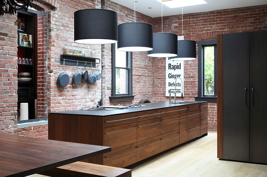 Striking pendant lighting and brick walls create a great fusion between contemporary and industrial styles [Design: The Last Inch]