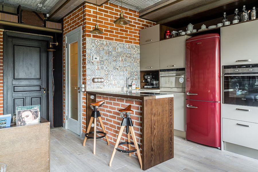 Tiles, brick and handmade decor craft a unique industrial kitchen [Design: Litvinov design]