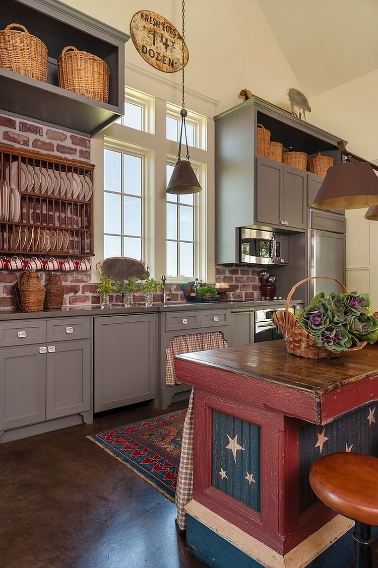 Unique farmhouse kitchen with a touch of red, blue and white [Design: Maison Maison Interior]