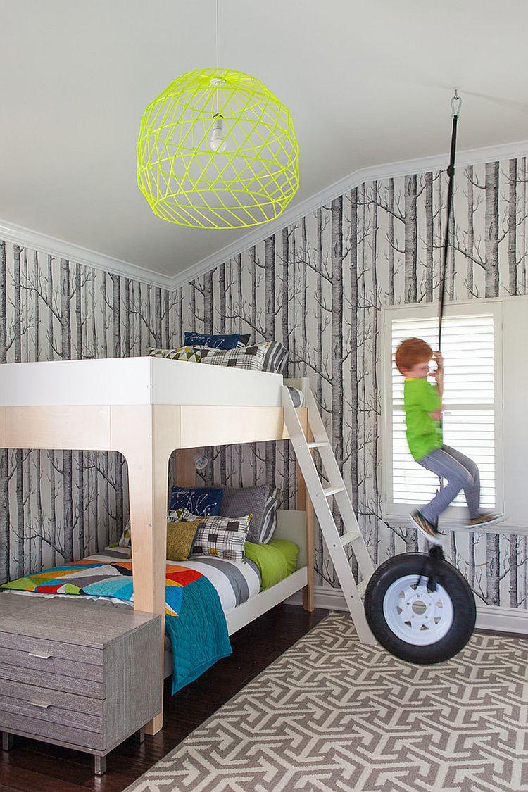 Woods Wallpaper and rug bring gray into this bedroom [Design: FLO Design Studio]