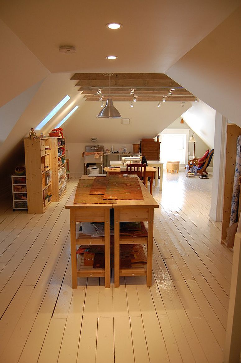 Attic space turned into an artist's studio and a playroom for kids