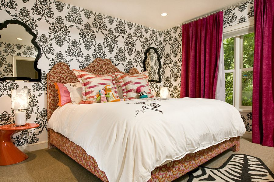 Black and white wallpaper and red drapes for the bright bedroom [Design: Grace Home Design]