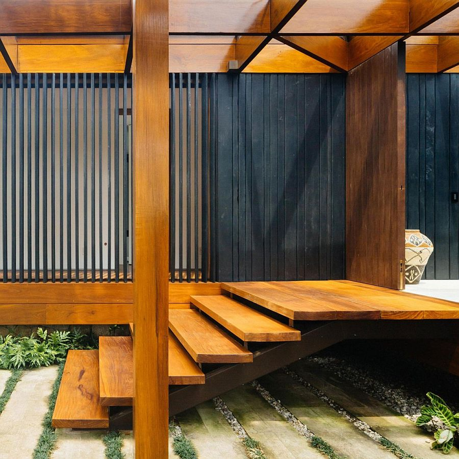 Charred wood used throughout the house gives it a cozy appeal