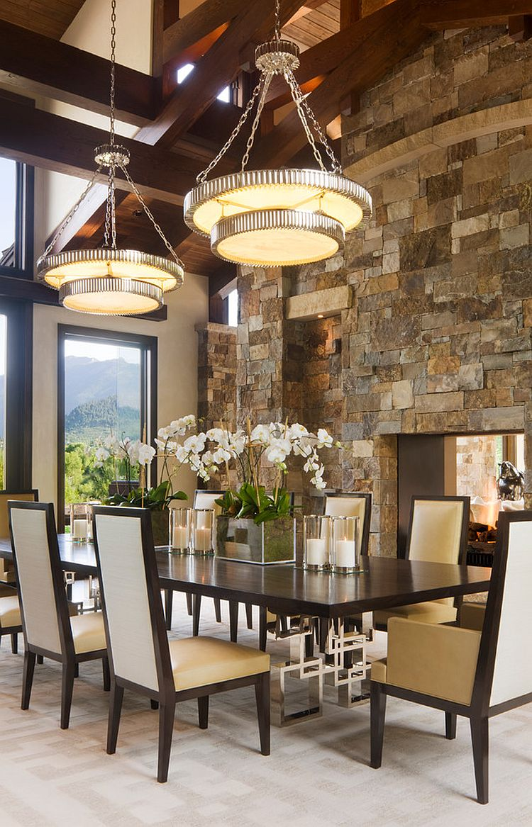 Classy contemporary dining room with stone fireplace