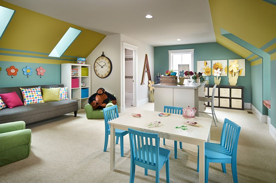 Colorful craft room and playroom idea