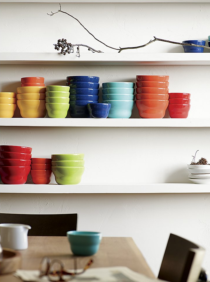 Colorful earthenware bowls from Crate & Barrel