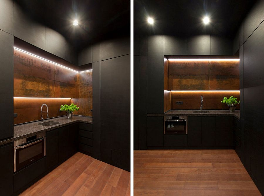 Contemporary kitchen in black with dark wooden cabinets