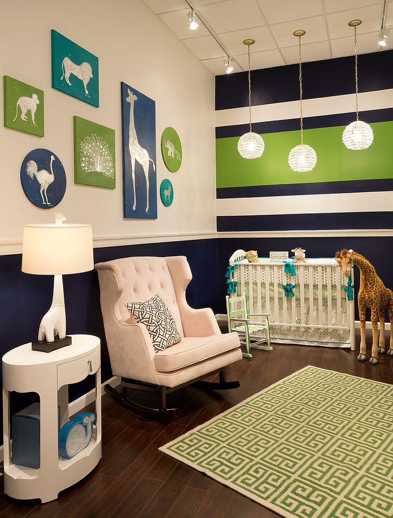Creative nursery in green, navy blue and white