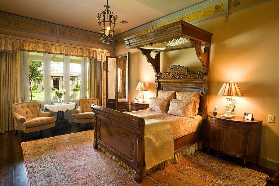 Custom Victorian canopy design in the bedroom [Design: Anderson Custom Homes]