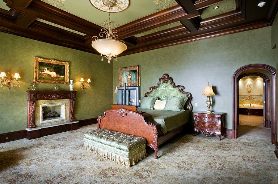 Custom ceiling designs with ornate patterns are perfect for the Victorian bedroom [Design: Electronics Design Group]