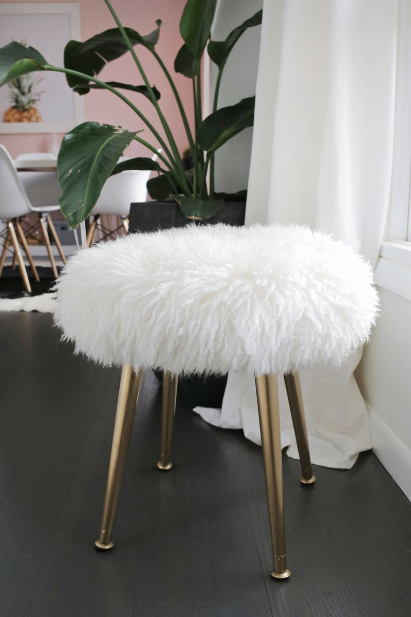DIY furry stool from A Beautiful Mess