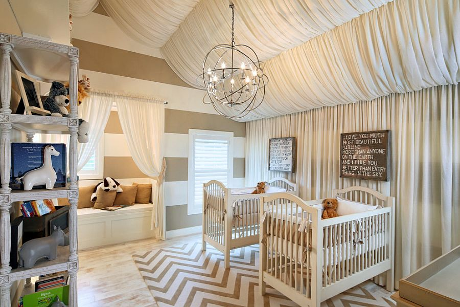 Fabulous baby room combines chevron pattern with simple stripes