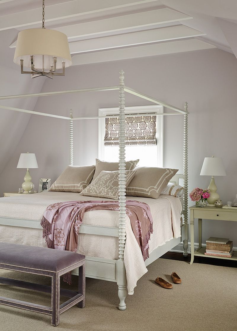 Four poster bed and pastel purple backdrop blend modernity with Victorian elegance [Design: Andrew Howard Interior Design]