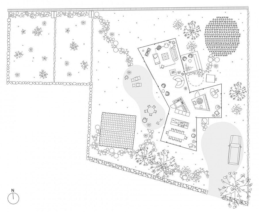 Ground level layout of the stylish Swedish home